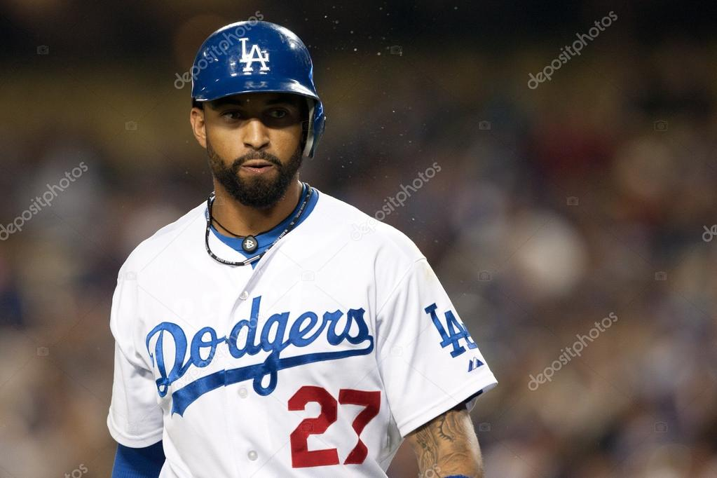 2011 April 19. Los Angeles Dodgers center fielder Matt Kemp during the Major League Baseball game between the Atlanta Braves and the Los Angeles Dodgers at Dodger Stadium. The Braves went on to defeat the Dodgers with a final score of 10-1 — Stock Photo #15465497