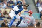 Dioner Navarro and Cincinnati Reds left fielder Chris Heisey in action during the — Stock Photo