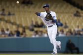 Dee Gordon throws to first during the game — Stock Photo