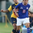 Stock Photo: Daniel Montenegro and Cruz Azul Gienir Garcifight for ball during game