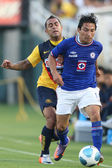 Daniel Montenegro and Cruz Azul Gienir Garcia fight for a ball during the game — Stock Photo