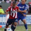 Rodolfo Espinoza and Kansas City Wizards defender Michael Harrington in action during the game — Stock Photo