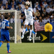 Carlo Costly and CristiNoriegfight for header during game — Stock Photo #16340873