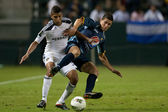 Esdras Padill and Sean Franklin in action during the game — Stock Photo