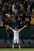 Robbie Keane celebrates his first goal during his debut with the Galaxy during the game — Stock Photo