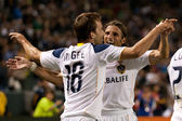 Mike Magee and Frankie Hejduk celebrate a goal during the game — Stock Photo