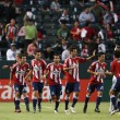 Chivas USA celebrate a goal by Chivas USA forward JUSTIN BRAUN during the game — Stock Photo