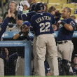 The Padres celebrate as they take the lead in the 3rd inning during the game — Stock Photo