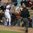 A.J. ELLIS catches a pop up foul and almost ends up in a fans lap during the game — Stock Photo