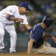RAFAEL FURCAL tags out WILL VENABLE at second base during game — Stock Photo #16986653