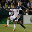 Aurelien Collin and Miguel Lopez fight for the ball during the game - Stock Photo