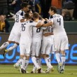 The Galaxy celebrate a goal scored off a free kick during the Major League Soccer game — Stock Photo