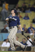 RYAN LUDWICK watches as he hits a pop up foul into the stands during the game — Stock Photo