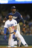 MATT KEMP slides in to second head first after hitting a double during the game — Stock Photo