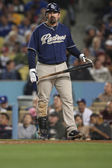 ADRIAN GONZALEZ steps up to the plate during the game — Stock Photo