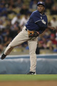 MIGUEL TEJADA warms up in between innings of the Padres vs. Dodgers game — Stock Photo