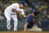 RAFAEL FURCAL tags out WILL VENABLE at second base during the game — Stok fotoğraf