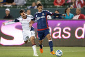 Benny Feilhaber and Mariano Trujillo fight for the ball during the game — Stock Photo