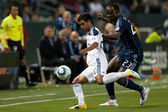De La Garza and Kei Kamara in action during the game — Stock Photo