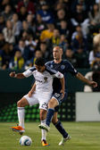 Aurelien Collin and Miguel Lopez fight for the ball during the game — Stock Photo