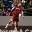 Kyle Beckerman and Marcelo Sarvas in action during the Major League Soccer game — Stock Photo