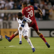 Edson Buddle and Chris Schuler fight for the ball during the Major League Soccer game — Stock Photo
