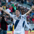 Robbie Keane and  Edson Buddle celebrate a goal during the game - Stock Photo