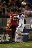 Ned grabavoy i todd dunivant w akcji w major league soccer gry — Zdjęcie stockowe