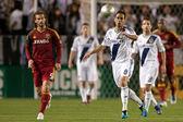 Marcelo Sarvas controls the ball during the Major League Soccer game — Stock Photo