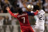 Fabian Espindola and De La Garza in action during the Major League Soccer game — Stock Photo