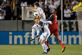 Ryan Johnson, Daniel Keat and Tommy Meyer fight for the ball during the game — Stock Photo