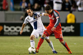 Luis Silva and Landon Donovan in action during the game — Stock Photo