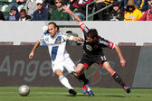 Landon Donovan and Chris Pontius in action during the game — Stock Photo