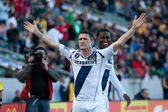 Robbie Keane and Edson Buddle celebrate a goal during the game — Stock Photo