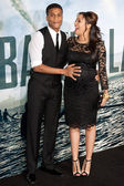 Tia Mowry arrives with Cory Hardrict at Columbia Pictures premiere — Stock Photo