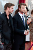 Liam Hemsworth and Chris Hemsworth arrive at the Los Angeles premiere — Stock Photo
