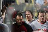 RYAN HANIGAN gets congratulated by teammates after scoring during the game — Stock Photo