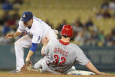 JAY BRUCE slides into second and tries to beat the tag by JAMEY CARROLL during the game — Stock Photo