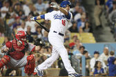 ANDRE ETHIER struggles against the Reds and is struck out during the game — Stock Photo