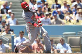 BRANDON PHILLIPS gets a piece of the ball during the game — Stock Photo