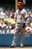 Erick Aybar holds at second during the game — Stock Photo