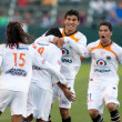 Stock Photo: Jaguares offense celebrate after scoring during InterLig2010 match