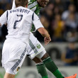 Kalif Alhassan and Todd Dunivant in action during the Major League Soccer game — Foto Stock #18765261