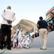 Stock Photo: David Beckham captains and leads his team on to field before Major League Soccer game
