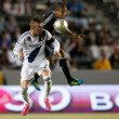 David Beckham and SJose Earthquakes defender Justin Morrow in action during Major League Soccer game — Stok Fotoğraf #18766079