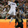 Cristiano Ronaldo heads the ball during the World Football Challenge game — ストック写真