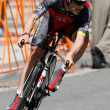 Levi Leipheimer rides his time trial through out downtown Los Angeles — Stok fotoğraf