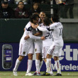 Real Salt Lake celebrate an 89th minute goal by Fabian Espindola during the game — ストック写真
