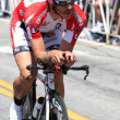 Ben Jacques-Maynes rides his time trial throughout downtown Los Angeles — Stock Photo