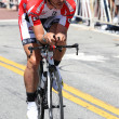 Ben Jacques-Maynes rides his time trial throughout downtown Los Angeles - Stock Photo